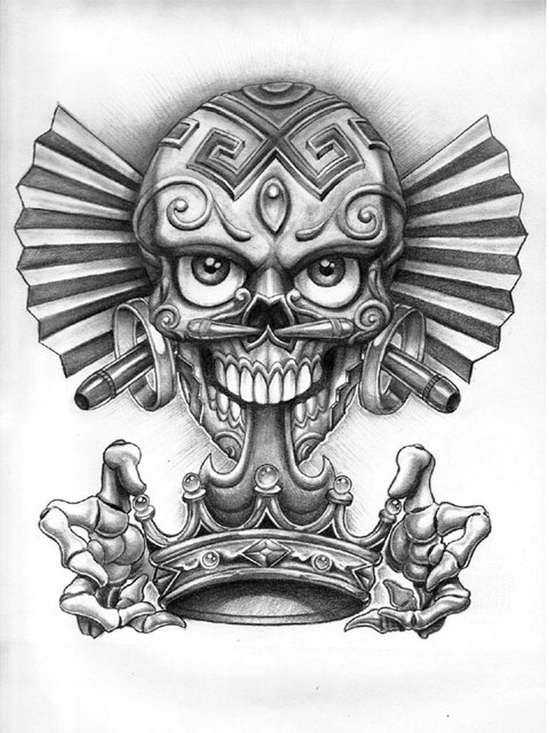 Dia de los muertos skull with crown tattoo design