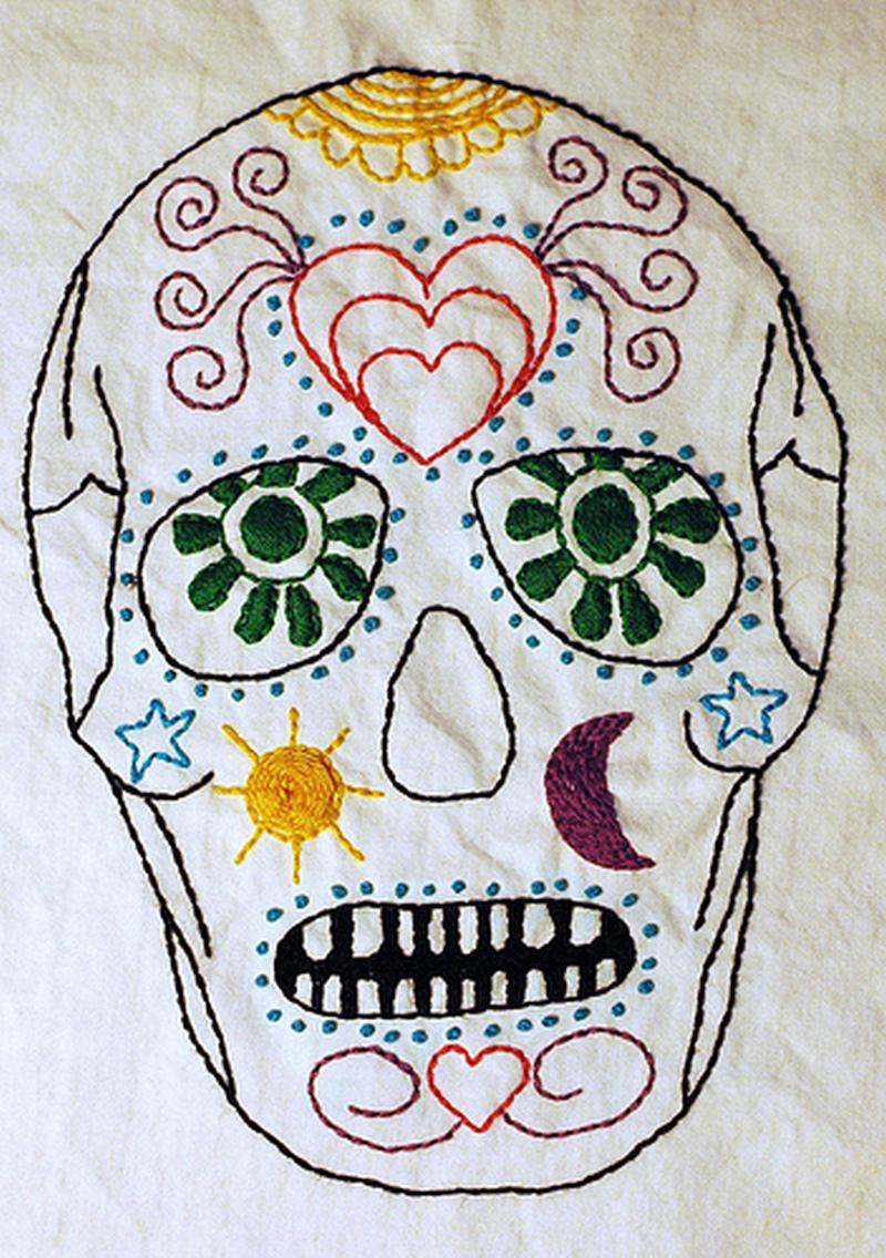 Dia de los muertos sugar skull embroidery tattoo