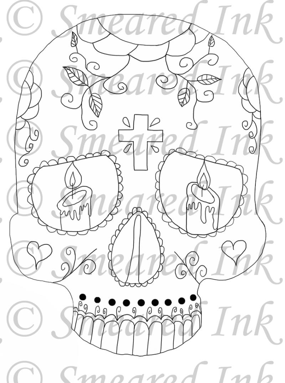 Dia de los muertos sugar skull tattoo sample