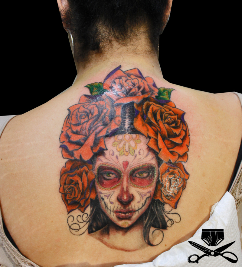 dia de los muertos tattoo design on back tattoos book tattoos designs. Black Bedroom Furniture Sets. Home Design Ideas