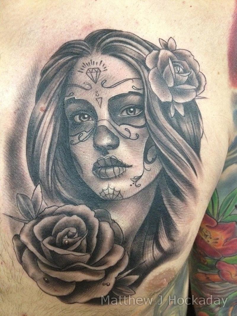 Dia de los muertos tattoo on chest