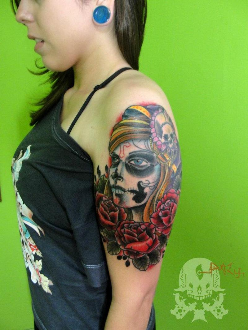 dia de los muertos tattoo on shoulder for girls tattoos book tattoos designs. Black Bedroom Furniture Sets. Home Design Ideas