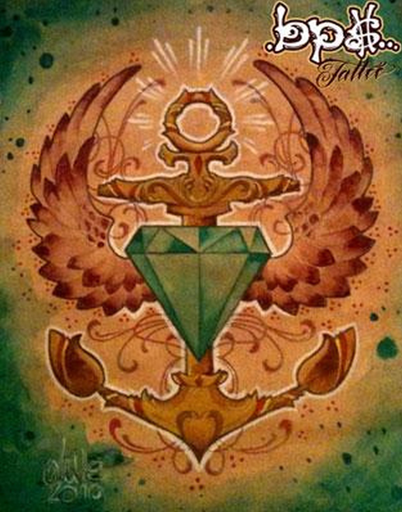 Diamond anchor tattoo poster