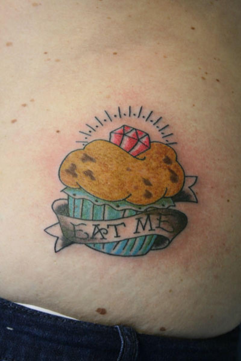Diamond cup cake tattoo design