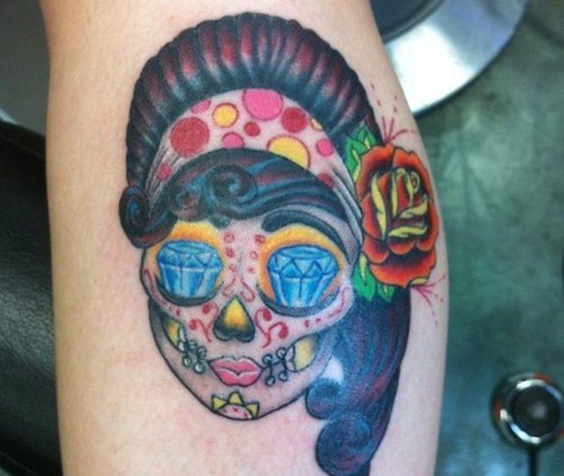 Diamond eyed gypsy skull tattoo design