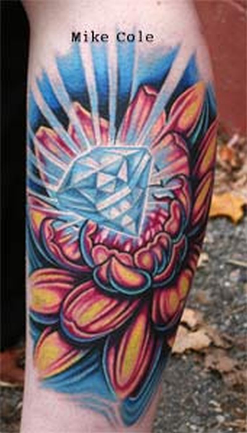 Diamond lotus tattoo design