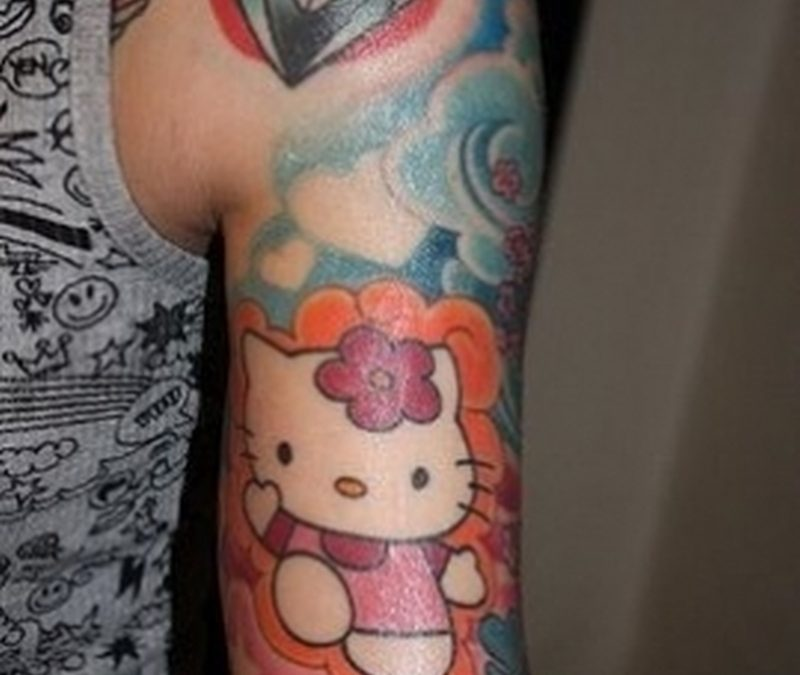 Diamond n hello kitty tattoo design