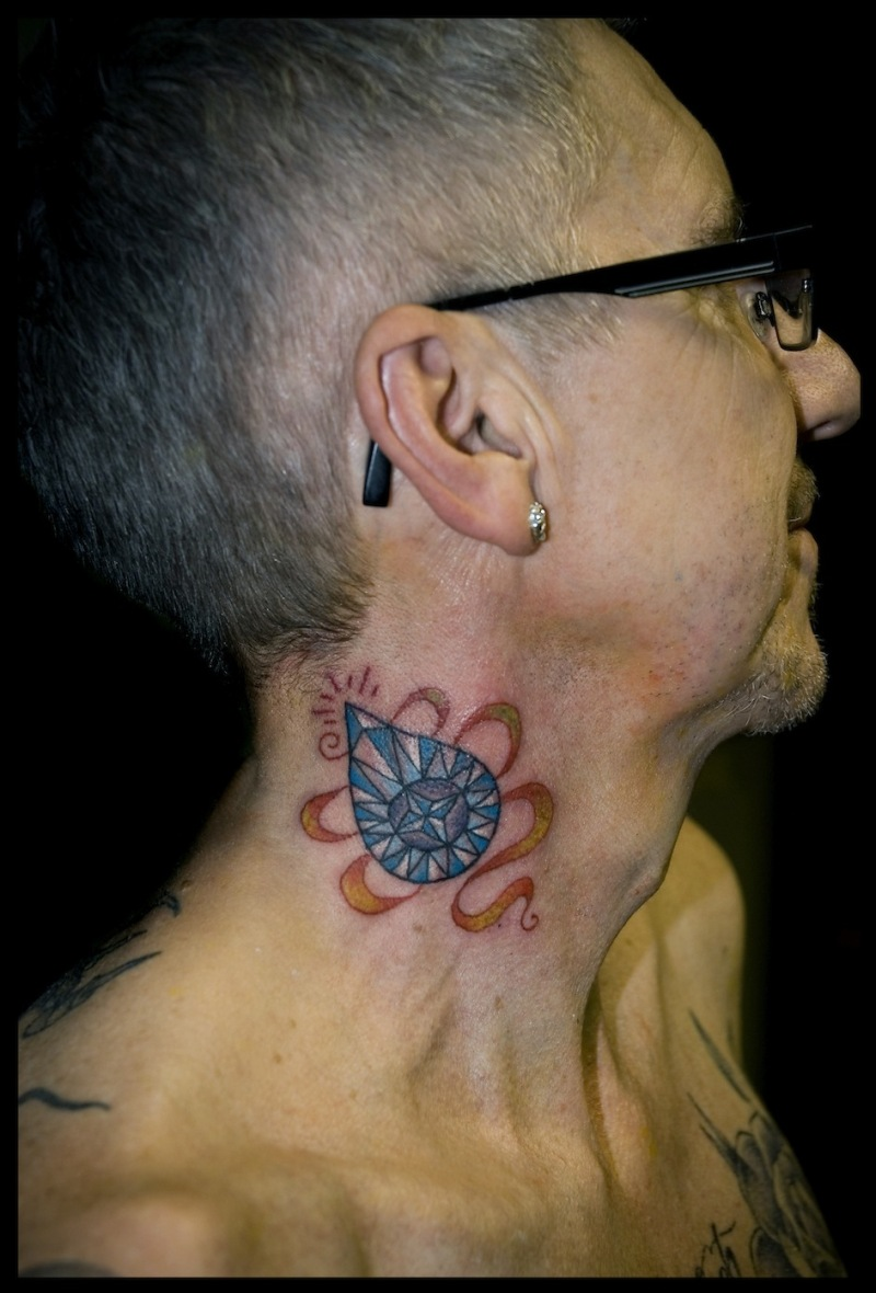 Diamond ribbon traditional neck tattoo