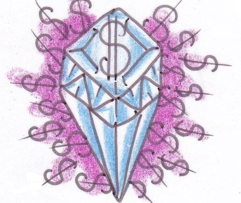 Diamond tattoo design for lower back 2