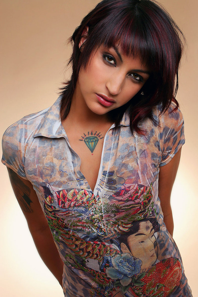 Diamond tattoo on chest for girls image