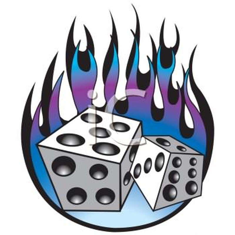Dice flames tattoo sample