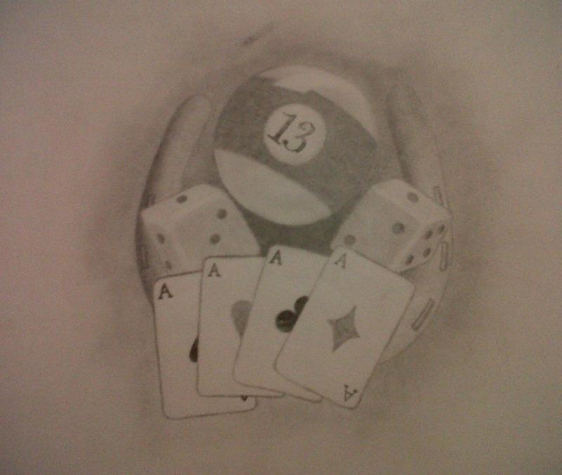 Dice n gambling cards tattoo design