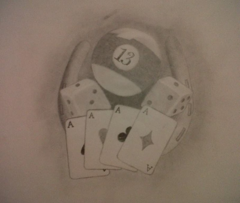 Dice n gambling cards tattoo drawing