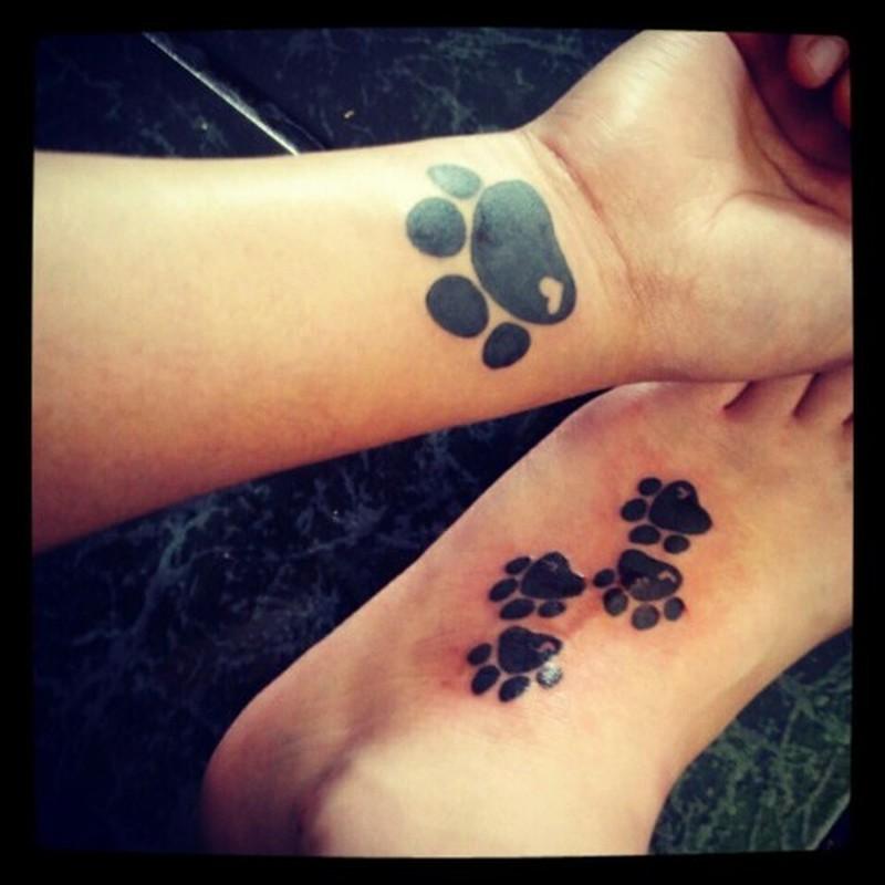 bc649bf25 Dog paw prints tattoo on wrist n foot - Tattoos Book - 65.000 ...