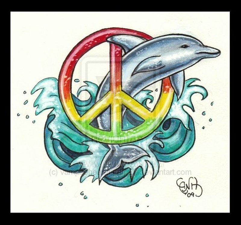 Dolphin n peace tattoo design