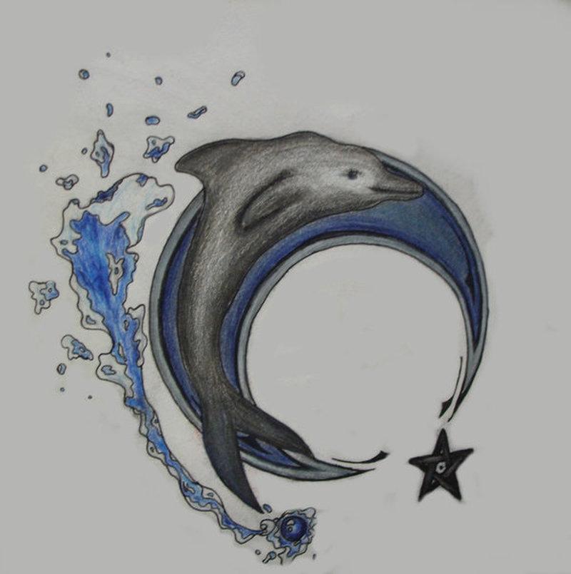 Dolphin n star tattoo poster