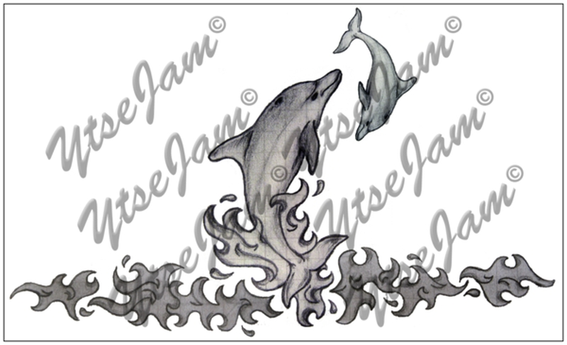 Dolphin scenery tattoo design