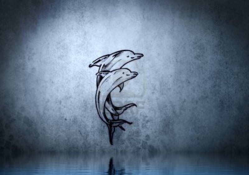 Dolphin tattoo on blue wall with water reflections