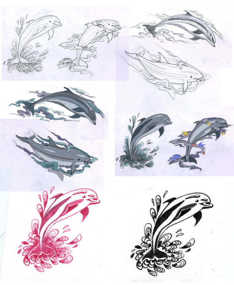 Dolphin tattoo sketches