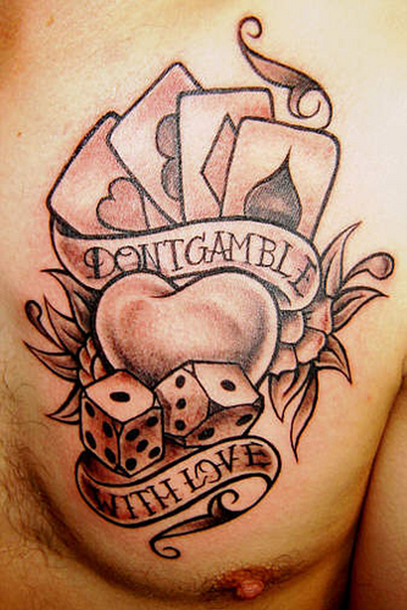 Dont gamble with love heart tattoo on chest