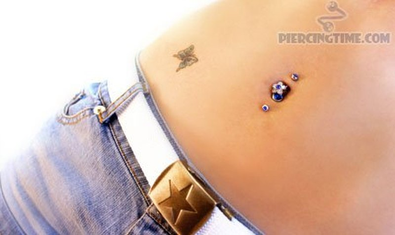 Double Belly Button Piercing Butterfly Tattoo Tattoos Book