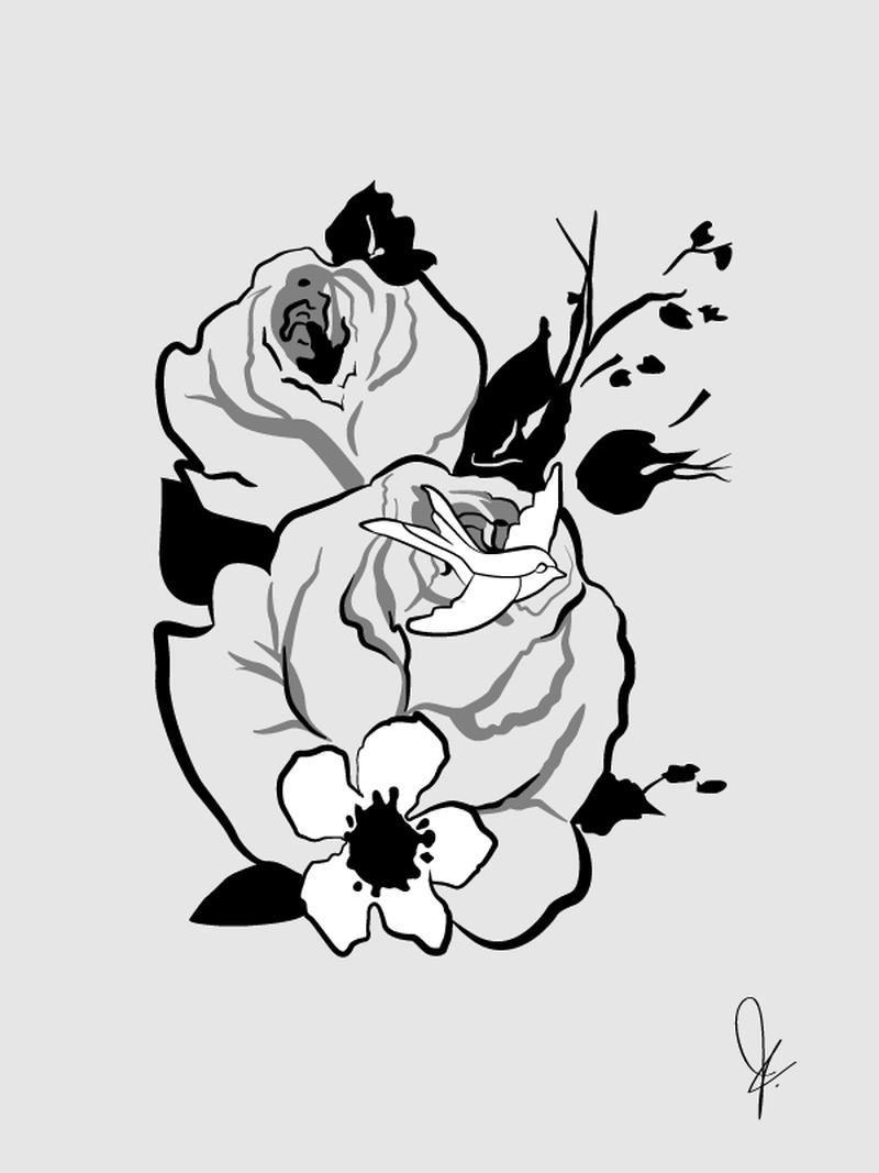 Dove floral tattoo design