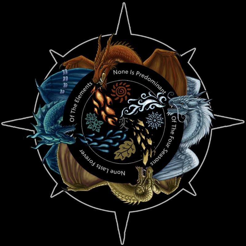 Dragon compass tattoo design