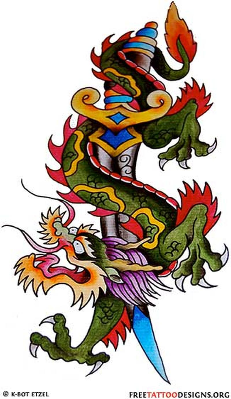 Dragon dagger design tattoo