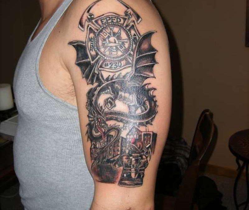 Dragon firefighter tattoo design on biceps