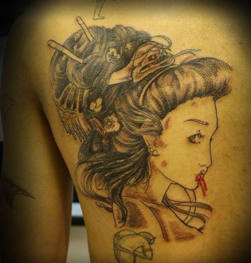 dragon hair geisha tattoo design on back tattoos book. Black Bedroom Furniture Sets. Home Design Ideas