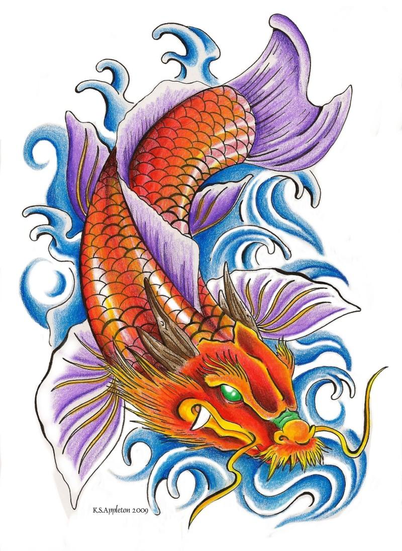 Dragon koi fish tattoo sample