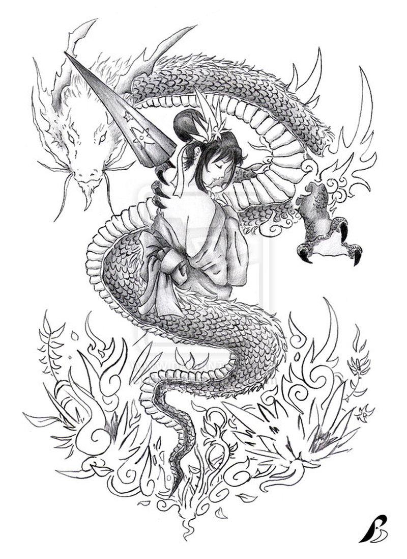 Dragon n geisha tattoo stencil