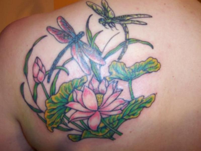 Dragonflies With Flower Tattoo On Back Tattoos Book 65000