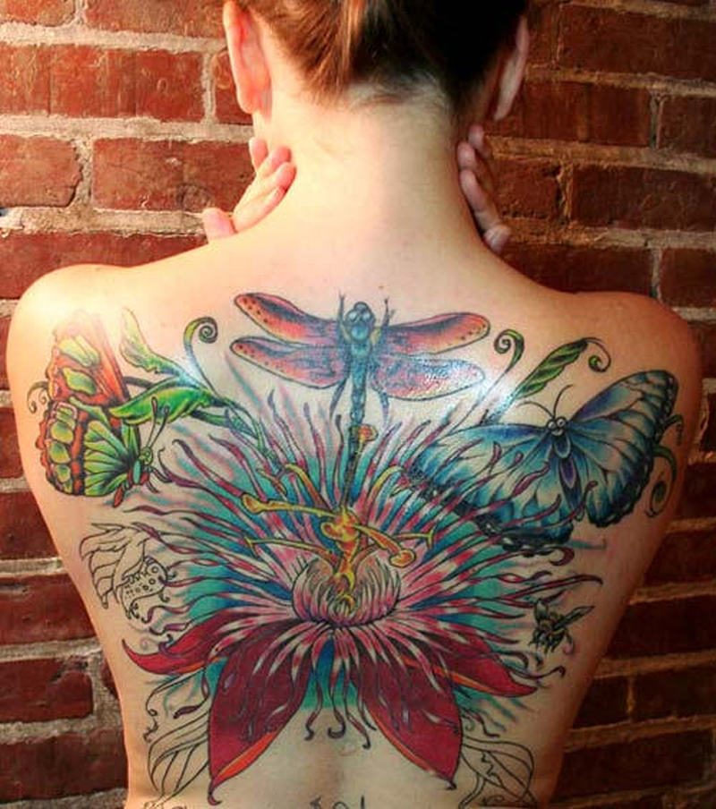 Dragonfly and butterfly tattoo