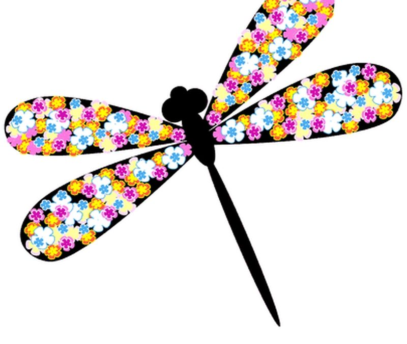 Dragonfly flower tattoo design