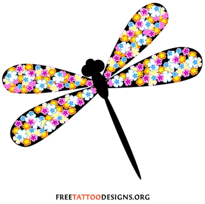 Dragonfly flower tattoo design