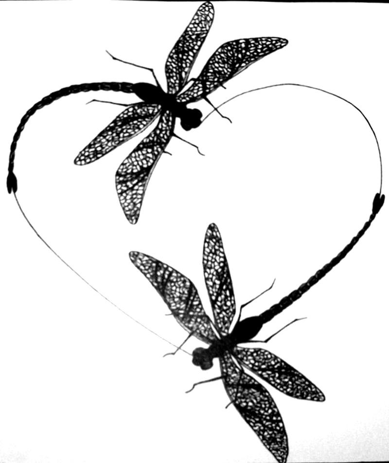 Dragonfly heart tattoo sample