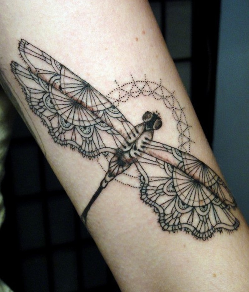 Dragonfly insect tattoo on arm