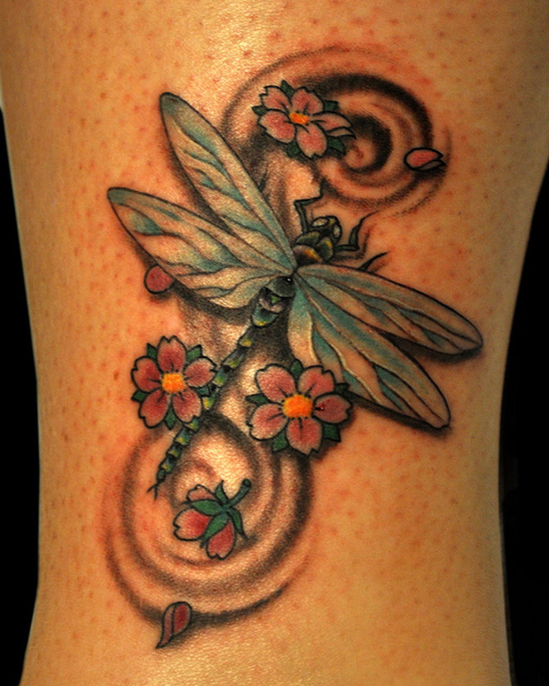 Dragonfly n cherry blossom tattoo design