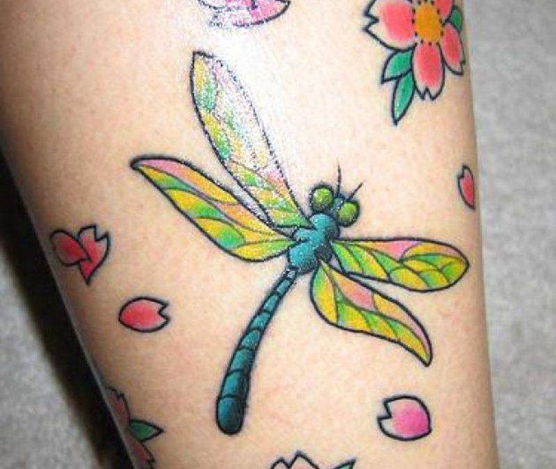 Dragonfly n flowers tattoo design 3