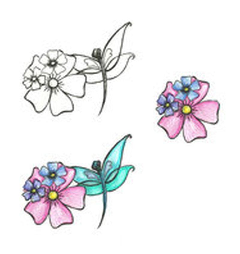 Dragonfly n flowers tattoo design
