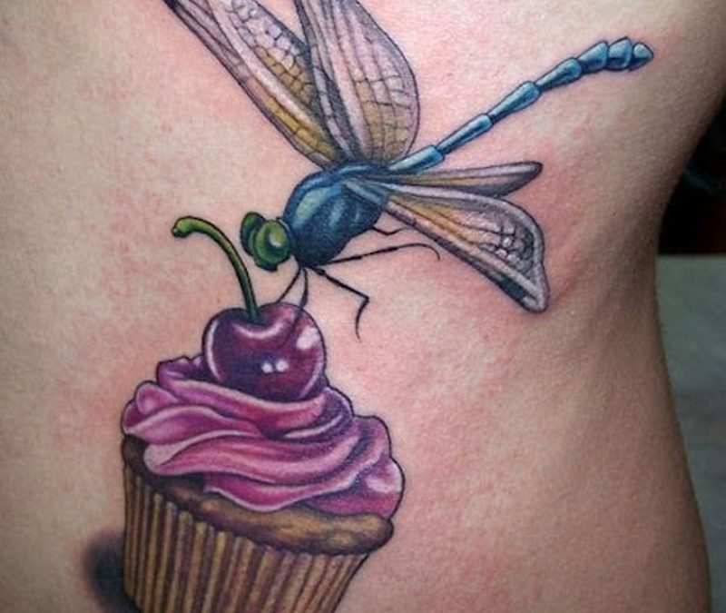 Dragonfly on cherry cake tattoo design