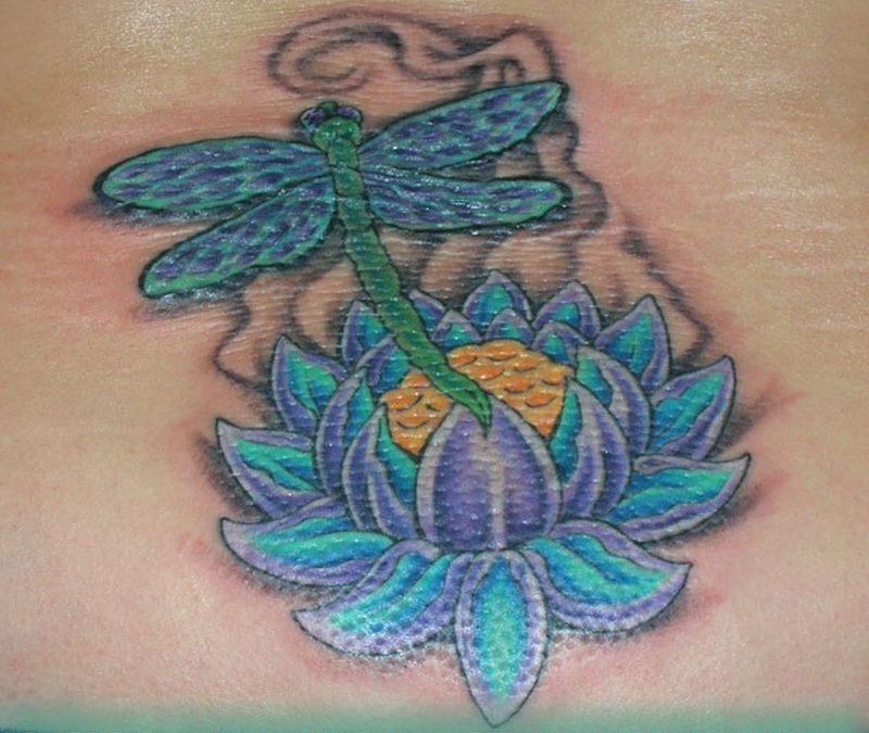 Dragonfly on lotus tattoo design