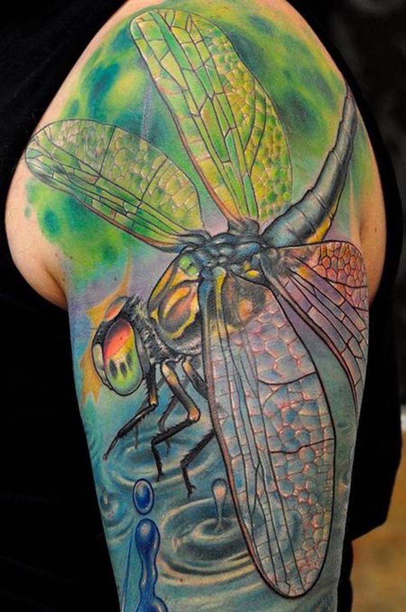 Dragonfly tattoo on arm 2