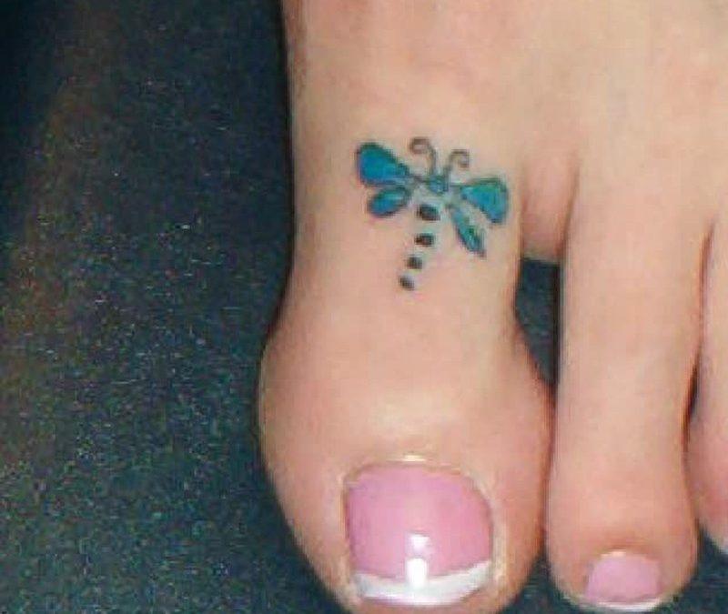 Dragonfly tattoo on toe