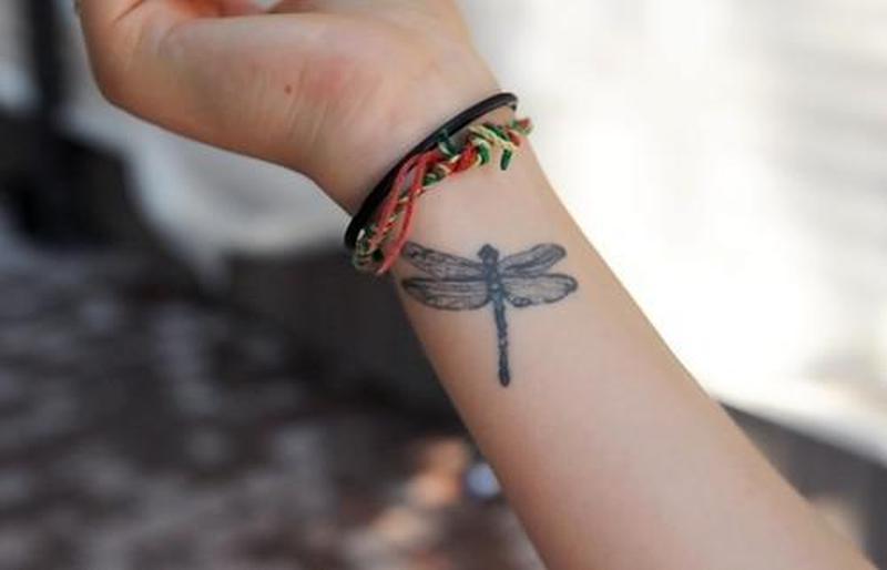 Dragonfly tattoo on wrist 2