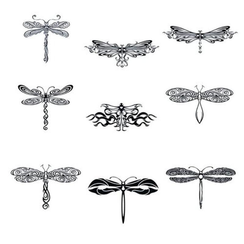 Dragonfly tattoo set