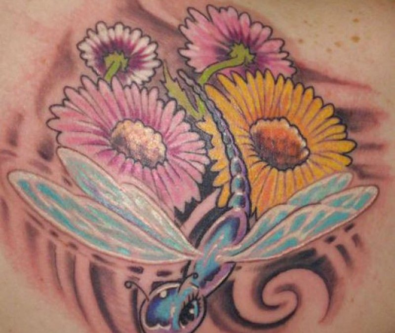 Dragonfly with flowers tattoo design