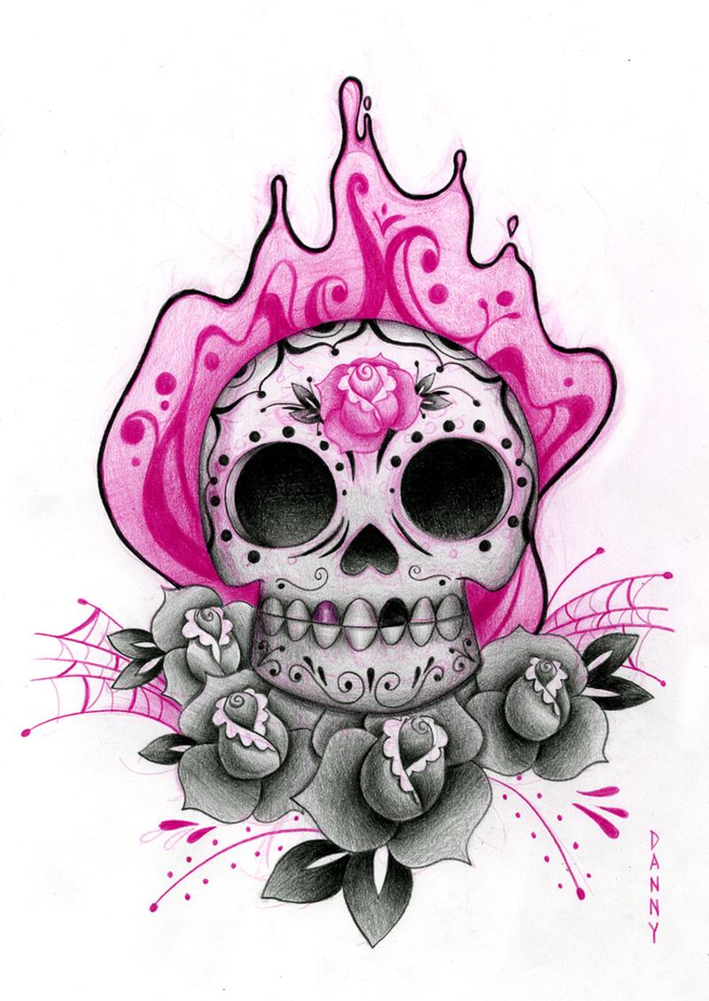 Drawing of alien skull tattoo