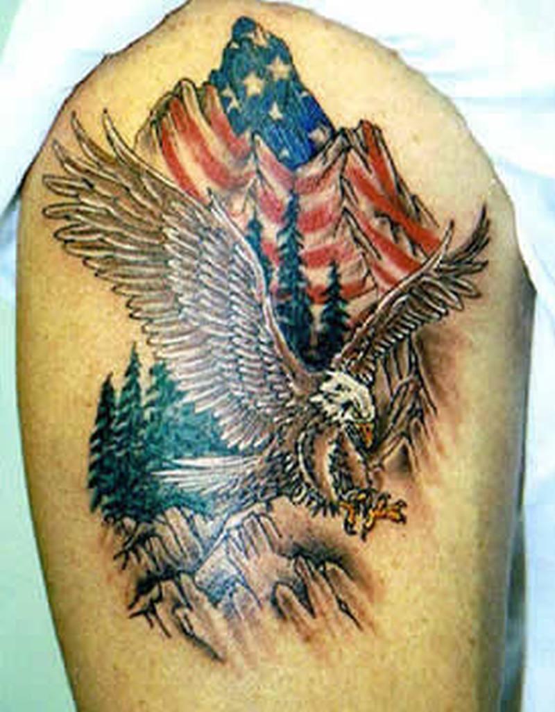 Eagle Flag Tattoo Shoulder | www.pixshark.com - Images ...